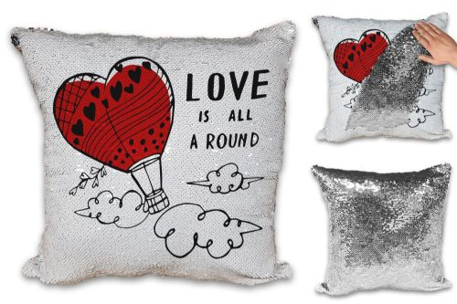 Love Is All Around Cute Sequin Reveal Magic Cushion Cover